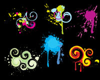 Set of colored grunge vector. Vector design elements -- dirty ink Royalty Free Stock Photos
