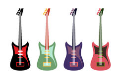 Set of colored guitars. Multi-colored rock electric guitars. Stock Photography