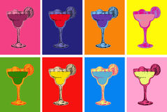 Set of Colored Hand Drawn Sketch Margarita Cocktail Drinks Vector Illustration vector illustration