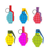 Set colored hand grenades. Fun colorful military ammunition.  Stock Photos