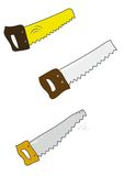 Set of colored handsaw on white. Stock Image