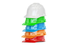 Set of colored hardhats, 3D rendering Royalty Free Stock Photography