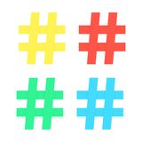 Set of colored hashtag sticker Royalty Free Stock Photography