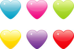 Set of colored heart icons. Royalty Free Stock Photos