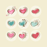 Set of colored hearts with decorative elements Stock Images