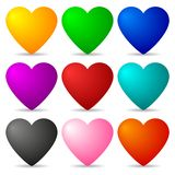 Set of Colored Hearts isolated on white background for Your Design, Game, Card. Vector Illustration. Set of Colored Hearts isolated on white background for Your Stock Illustration