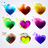 Set of colored hearts Stock Image