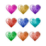 Set of colored hearts on a white background Royalty Free Stock Photos