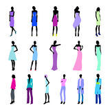 Set of colored high fashion women. Set of haute couture female color silhouettes Stock Images