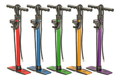 Set of colored high pressure hand pumps, 3D rendering. Isolated on white background Royalty Free Stock Image