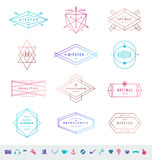 Set of colored hipster line emblems Stock Photo