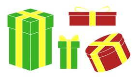 Set of colored holiday Christmas gifts. Vector. Set of colored holiday Christmas gifts. Simple set, 4 boxes vector illustration