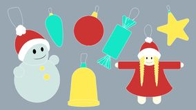 Set of colored holiday Christmas toys. Vector. Illustration royalty free illustration