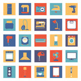 Set of colored home appliances and electronics. Household appliances and electronics to the individual colored backgrounds Royalty Free Stock Image