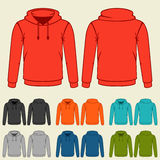 Set of colored hoodies templates for men royalty free illustration