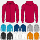 Set of colored hoodies templates for men Royalty Free Stock Photos