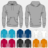Set of colored hoodies templates for men Royalty Free Stock Images