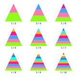 Set of colored horizontal layer pyramid charts. Templates graphs in flat style. Colorful elements for infographics Royalty Free Stock Images