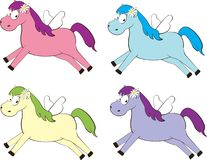 Set of colored horse with wings Stock Images