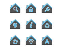 Set of colored house icons Royalty Free Stock Photo