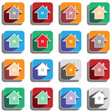 Set of colored house icons Royalty Free Stock Photos