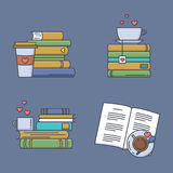 Set of colored icons for book fans. Stock Images