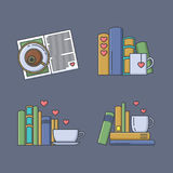 Set of colored icons for book fans. Royalty Free Stock Images