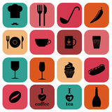 Set of colored icons flat food kitchen. Stock Image