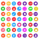 Set of colored icons for game design or website. It can be used. Set of colored abstract icons for game design or website. It can be used as a design buttons for royalty free illustration