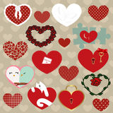 Set of colored icons of hearts. collection of stickers, labels, Stock Photography