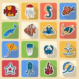 Set of colored icons, inhabitants of the underwater world. Fish, whale, jellyfish, sea horse, crab, sea turtle, star, anchor, octopus, seaweed flying fish Stock Photos