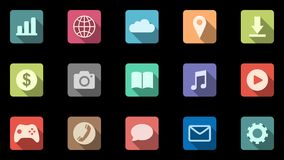 Set of 15 colored icons with oblique shadows. Mobile apps. Alpha channel stock footage