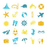 Set of colored icons for summer Stock Photo