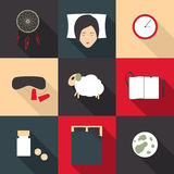 Set of colored icons on a theme of deep sleep in a flat style Royalty Free Stock Images