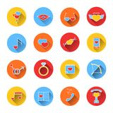 Set of colored icons for Valentine's day. Royalty Free Stock Images