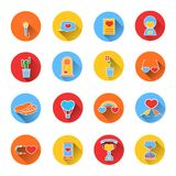 Set of colored icons for Valentine's day. Collection of colorful vector icons in flat style. Stock Photography