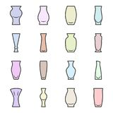 Set of colored icons - vases for flowers on a white background. Vector royalty free illustration