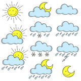 Set of colored icons weather. Doodle. Illustration  contour Royalty Free Stock Image