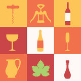 Set of colored icons with wine Stock Image