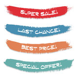 Set of colored ink stroke. Sale, special offer, last chance, best price vector illustration