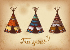 Set of 3 colored ink traditional indian wigwams. Stock Photo