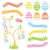 Set of colored isolated sweet Easter eggs and ribbon banners on white background. Abstract festive tree. Simple flat vector illust. Ration. Suitable for Stock Image