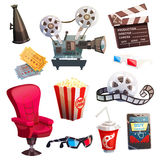 Set Of Colored Isometric Cartoon Cinema Icons. In retro style with director chair projector 3d glasses isolated vector illustration Royalty Free Stock Image