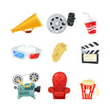 Set of colored isometric cartoon cinema icons. Retro style. Vector illustration. Royalty Free Stock Photography