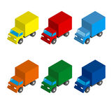 Set of colored isometric 3d cargo trucks. Cartoon cars. Toy transport icons for infographics Royalty Free Stock Photos