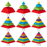 Set of colored isometry pyramid charts. Business data, colorful elements for infographics. Vector Stock Photo