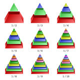 Set of colored isometry pyramid charts. Business data, colorful elements for infographics. Vector Stock Photography