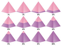 Set of colored isometry pyramid charts with symmetric layered percent. Elements for infographics. Vector Royalty Free Stock Photos