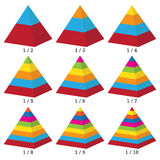 Set of colored isometry volumetric not symmetrical pyramid charts. Vector Stock Photo