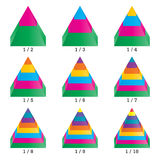 Set of colored isometry volumetric pyramid charts. Vector Royalty Free Stock Photo